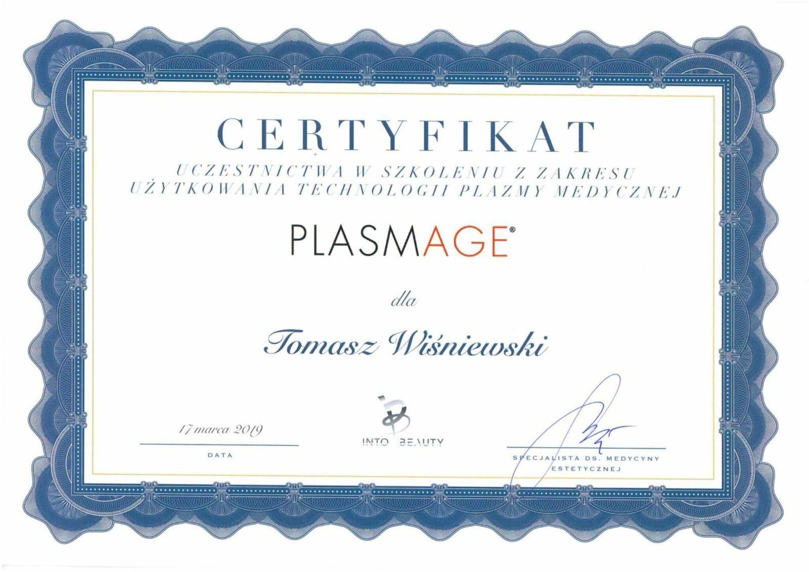 Tomasz Wiśniewski certyfikat
